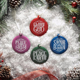 Ornament Round Peace on Earth Green