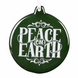 Ornament Round - Peace on Earth - Luke 2:14 (Green)