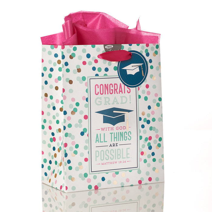 Congrats Grad!, All Things are Possible Medium Gift Bag
