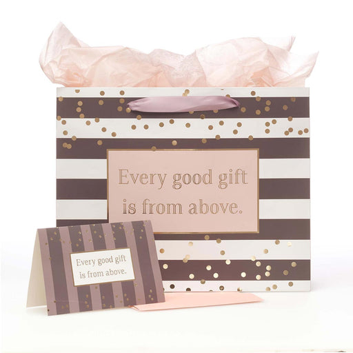Every Good Gift Large Gift Bag Set with Card and Tissue Paper - James 1:17