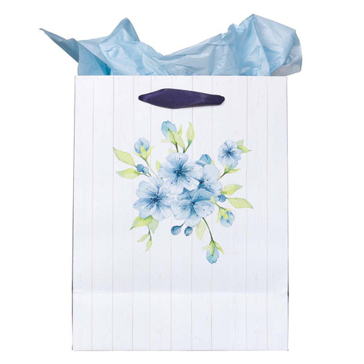A Sweet friendship Medium Gift Bag in White and Blue with Tissue Paper - Proverbs 27:9