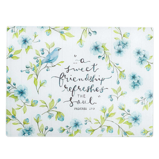 A Sweet Friendship Large Glass Cutting Board - Proverbs 27:9