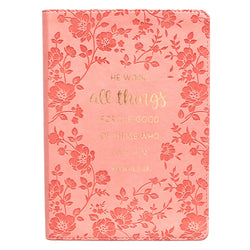 All Things Classic LuxLeather Journal in Coral - Romans 8:28