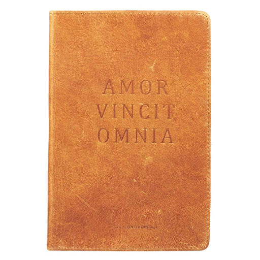 Love Conquers All Soft Full Grain Leather Journal in Brown