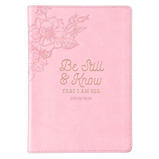 Be Still & Know Slimline Faux Leather Journal in Pink - Psalm 46:10