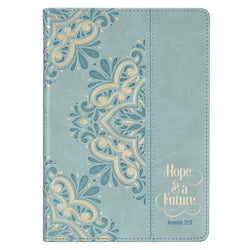 Hope & a Future Powder Blue Classic Faux Leather Journal - Jeremiah 29:11