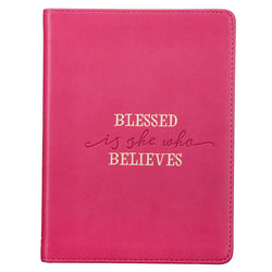 Blessed Is She Handy-Sized Faux Leather Journal in Ruby Pink