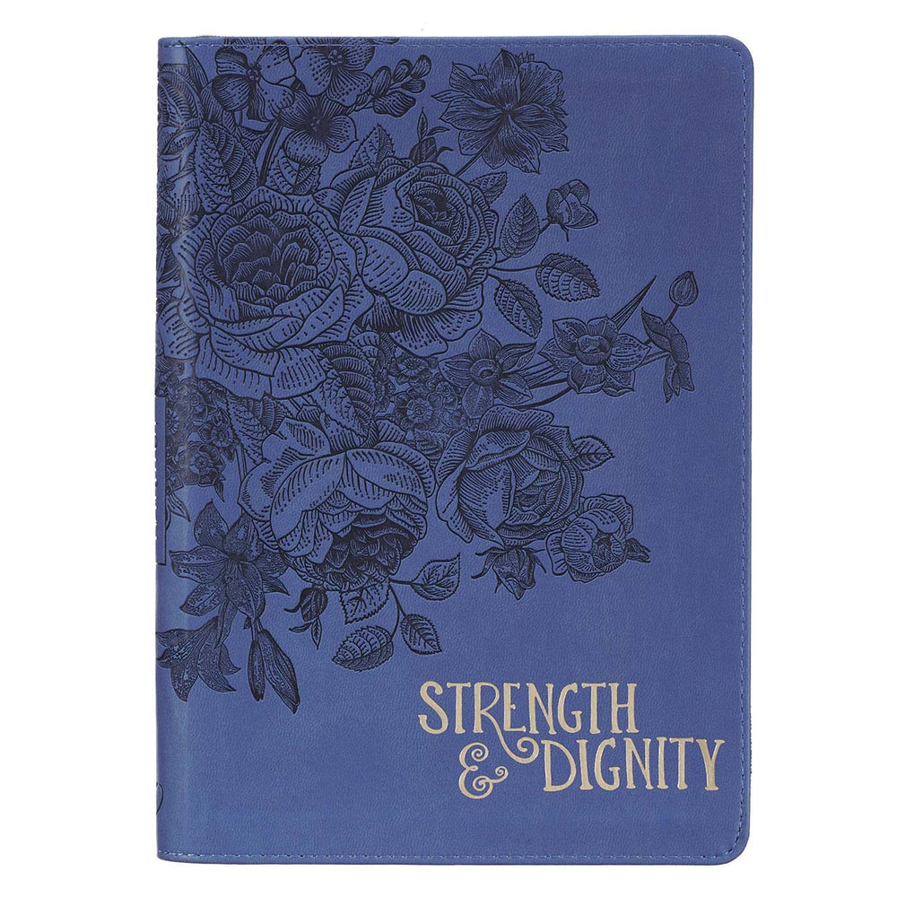 Strength & Dignity Zippered Faux Leather Journal in Navy46:10