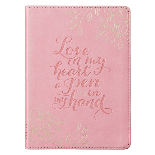 Love in my Heart Soft Pink Handy-size Faux Leather Journal