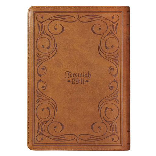 I Know the Plans Saddle Tan Faux Leather Classic Journal with Zippered Closure - Jeremiah 29:11