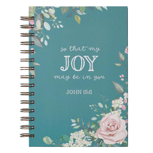 That My Joy May Be In You Large Wirebound Journal in Teal - John 15:11