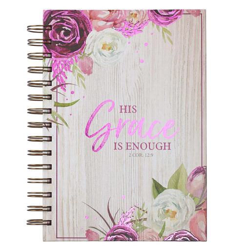 His Grace is Enough Large Wirebound Journal in Pink Plums - 2 Corinthians 12:9