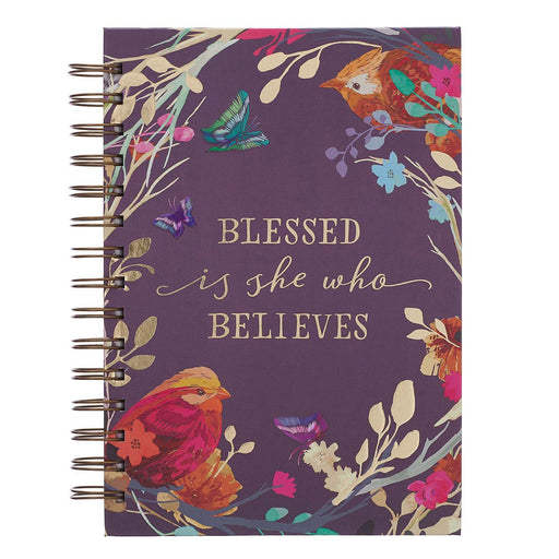 Blessed Is She Large Wirebound Journal in Eggplant