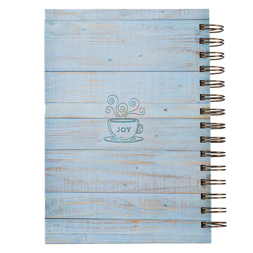 Joy Comes In The Morning Large Wirebound Journal in Distressed White Wood - Psalm 30:5