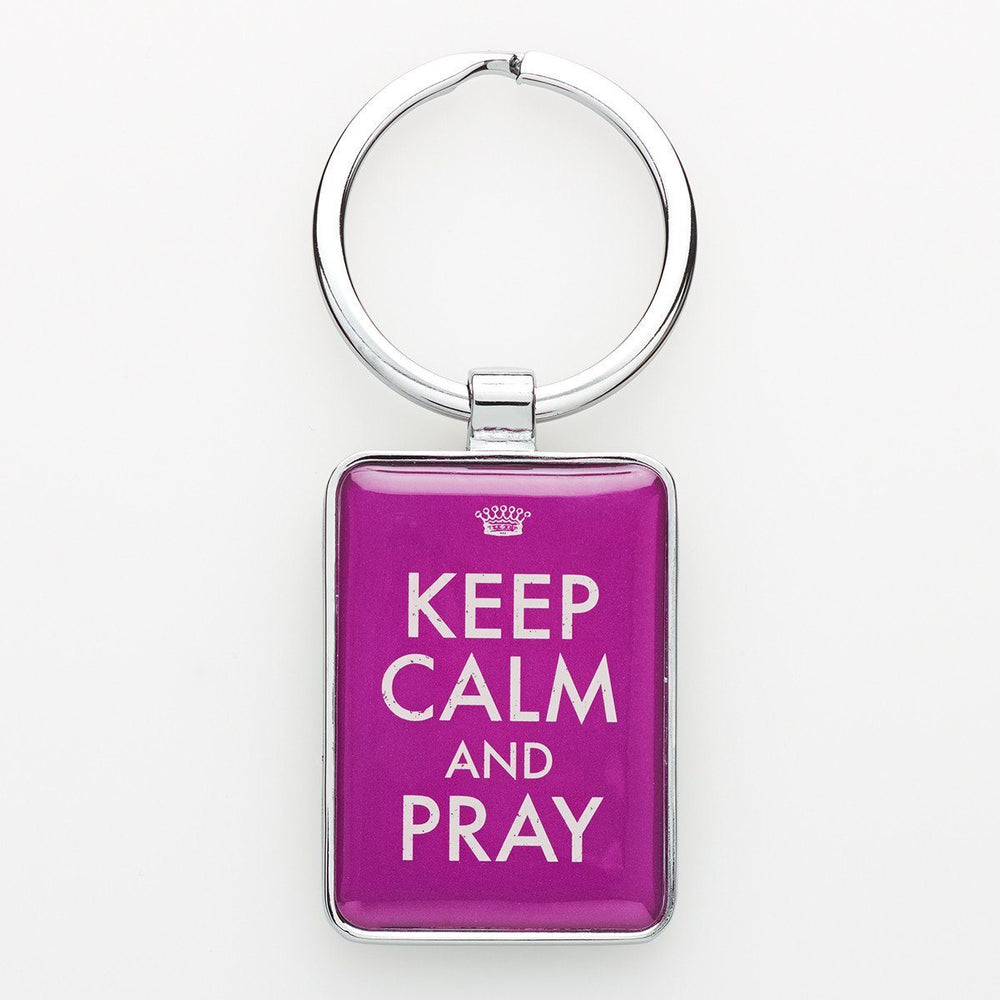 """Keep Calm and Pray"" Metal Keyring - Pack of 3"