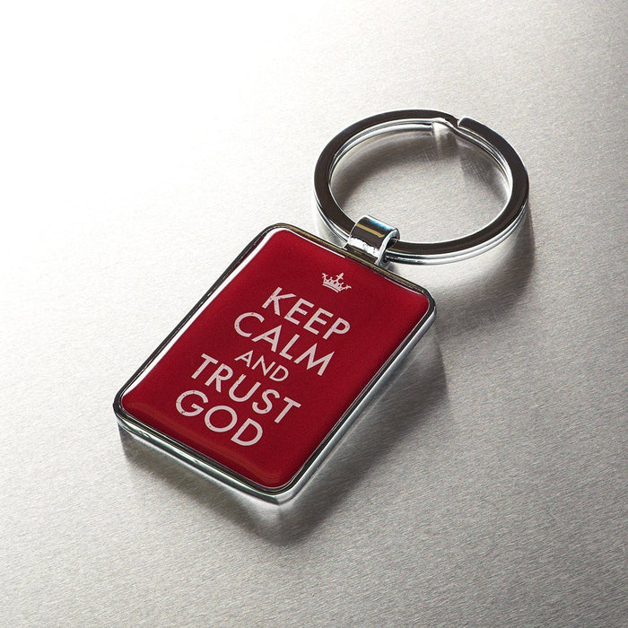 """Keep Calm and Trust God"" Metal Keyring"