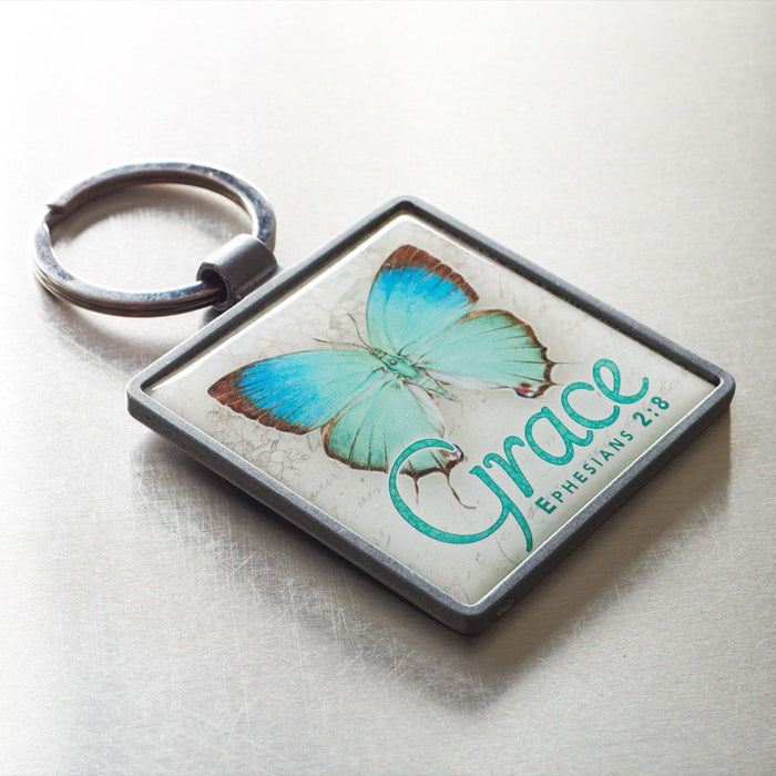 Grace Butterfly - Ephesians 2:8 Keyring
