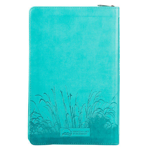 Aqua with Zipper KJV Bible Standard Size