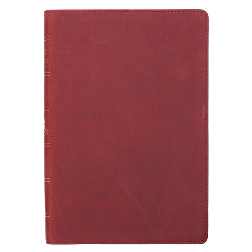Premium Leather Burgundy KJV Bible Thinline Large Print