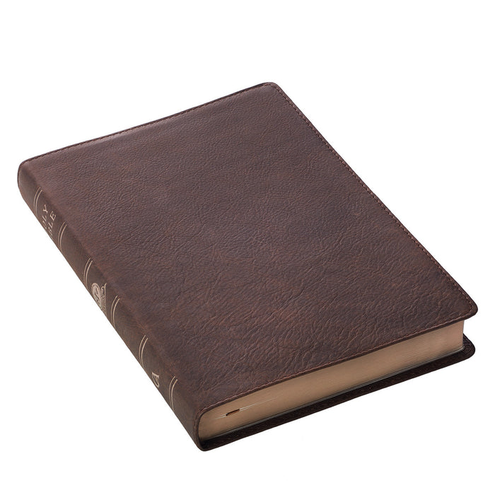 Premium Leather Brown KJV Bible Thinline Large Print