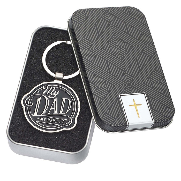 My Dad My Hero Black Metal Keyring in Gift Tin
