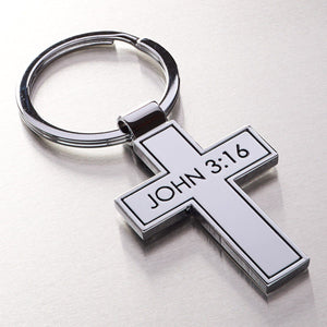 Metal Cross - John 3:16 Keyring  - Pack of 3