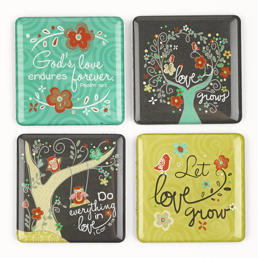 Love Grows Collection Inspirational Fridge Magnet Set - Psalm 136: 2