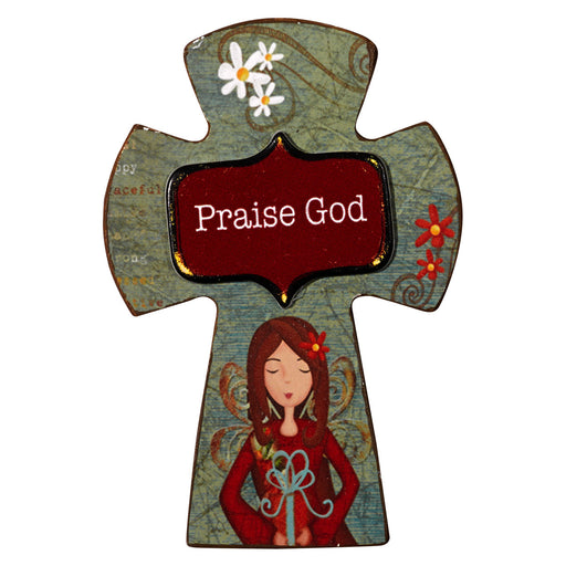 """Praise God"" Wooden Cross Magnet In Packs of 3: $1.99 Each"