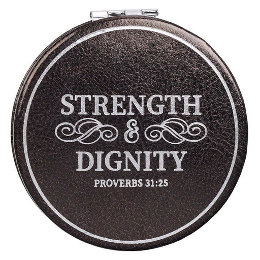 Strength & Dignity Black Compact Mirror - Proverbs 31:25