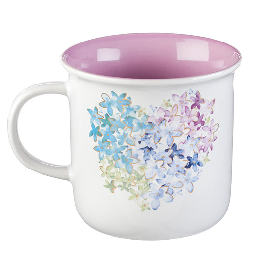 Violet Floral Heart Coffee Mug