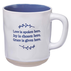 Love Joy Grace Clay-dipped Ceramic Mug in Blue
