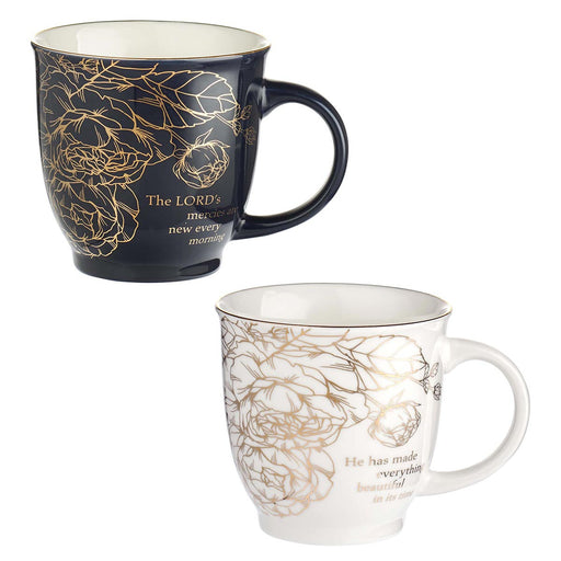 A Beautiful Morning Two Piece Ceramic Mug Set - Lamentations 3:23 & Ecclesiastes 3:1