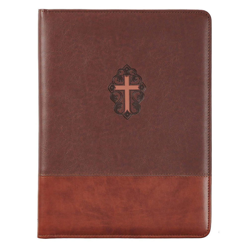 John 3:16 Collection Two-Tone Brown Faux Leather Portfolio Folder With Cross
