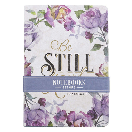 Be Still and Know Medium Notebook Set in Purple Florals - Psalm 46:10