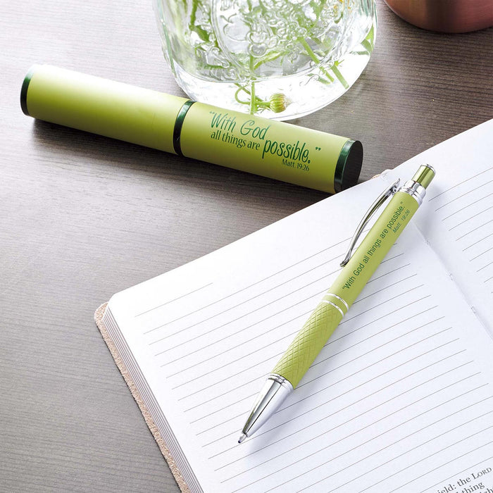 All Things Possible, Green - Matthew 19:26 Gift Pen in Case