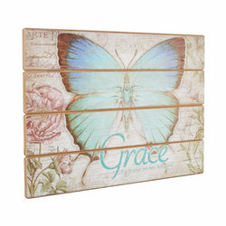 Wooden Wall Plaque - Botanic Butterfly Blessings