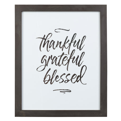 Thankful Grateful Blessed Framed Wall Art