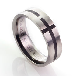 Black Cross - Matthew 5:8 Men's Ring