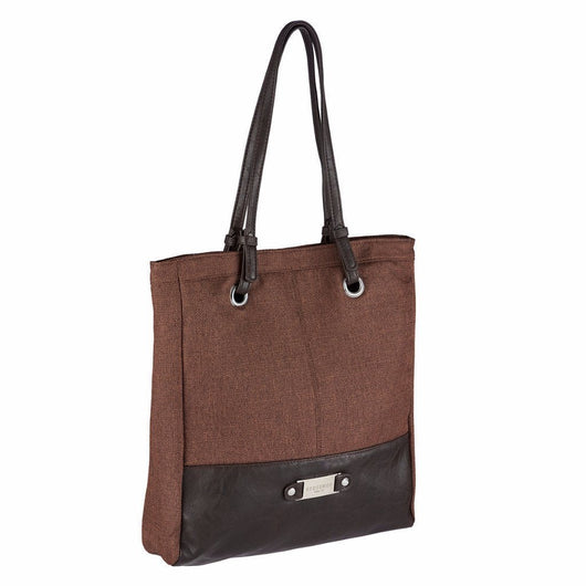 Brown Linen Look Tote Bag w/