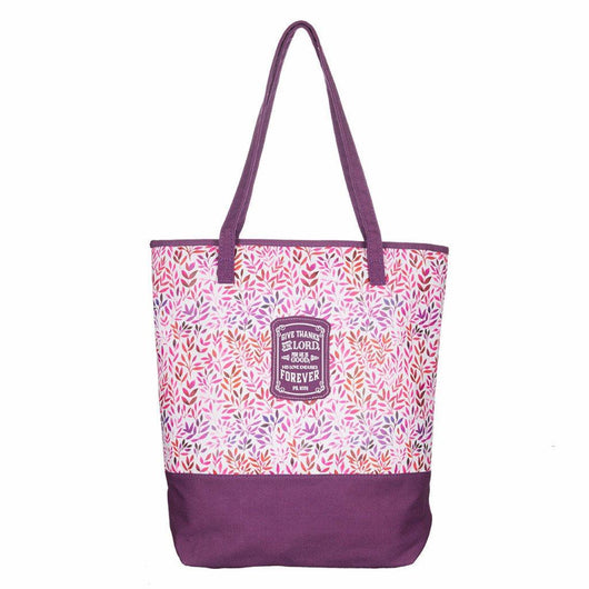 Plum Small Prints Canvas Purse- Psalm 107:1