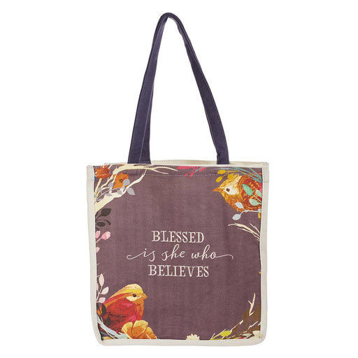 Blessed Is She Who Believes Cotton Canvas Tote Bag