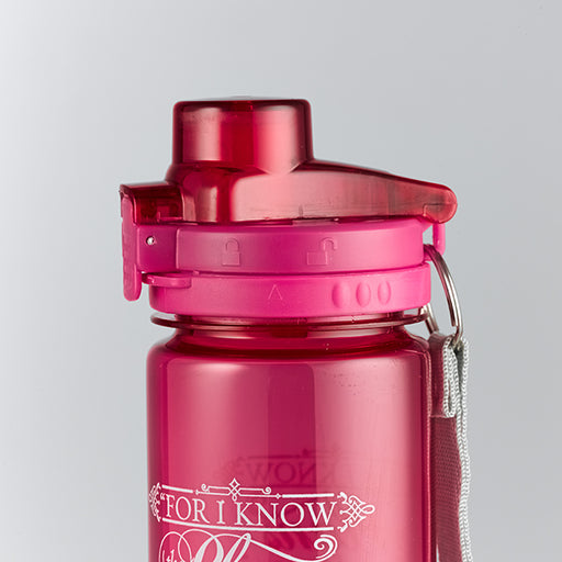 I Know the Plans in Pink - Jeremiah 29:11 Plastic Water Bottle