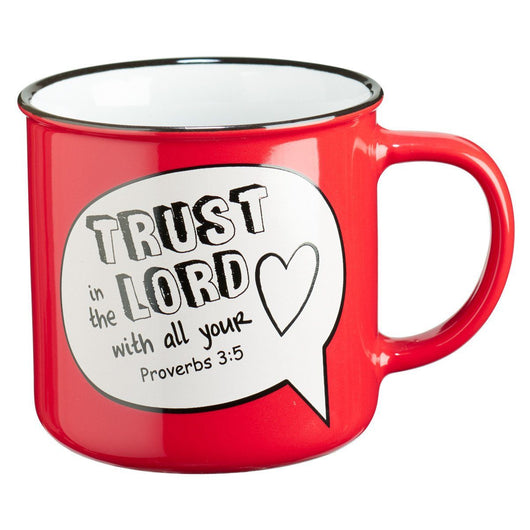 Trust in the Lord Scripture Bubble in Red Ceramic Proverbs 3:5 Coffee Mug
