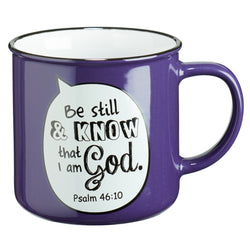 Be Still Scripture Bubble in Purple Ceramic Psalm 46:10 Coffee Mug