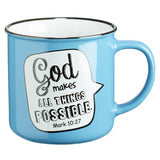 Peacock Blue Campfire Style Scripture Bubble Ceramic Mug: Mark 10:27