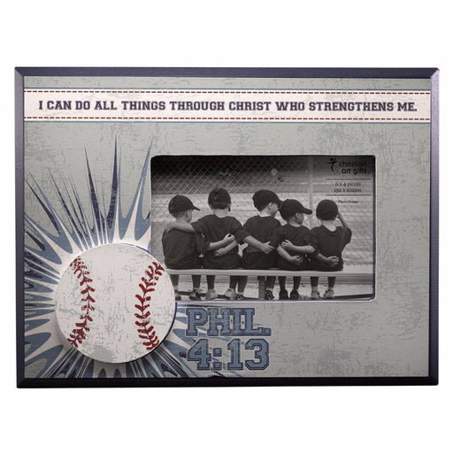 Baseball/ Phil. 4:13 (Blue) Wooden Photo Frame