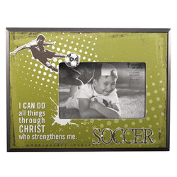 Soccer/Phil. 4:13 (Green) Wooden Photo Frame