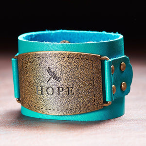 Ladies Leather Christian Cuff Wristband w/