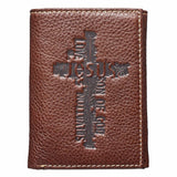 Brown Genuine Leather Tri-Fold Wallet w/ Cross
