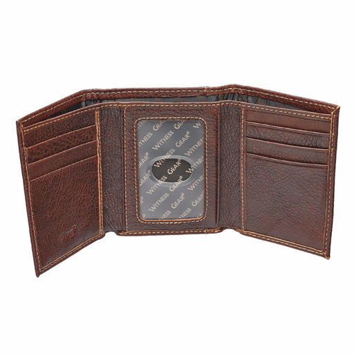 Tri-Fold With Debossed Cross in Brown Leather Wallet